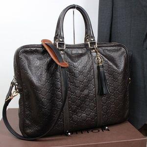 GUCCI GUCISSIMA Leather Briefcase Shoulder Bag Men